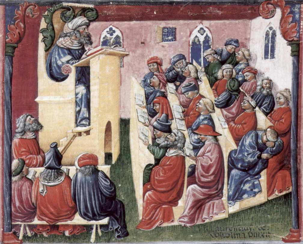 Henry of Germany delivering a lecture to university students in Bologna by Laurentius de Voltolina